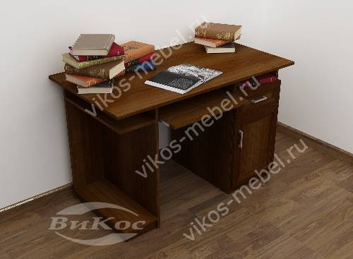 Широкий прямой стол компьютерный цвета яблоня