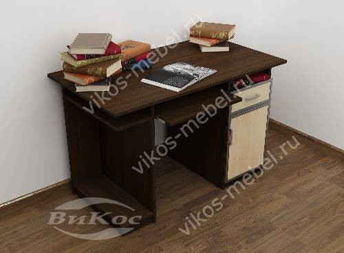Широкий прямой стол компьютерный цвета венге - молочный дуб