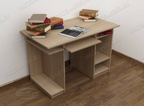 Большой стол для компьютера с полками цвета шимо светлый