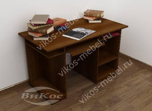 Большой стол для компьютера с полками цвета яблоня