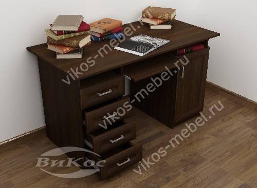 Большой стол компьютерный с ящиками для мелочей цвета венге