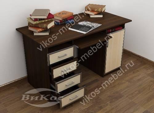 Большой стол компьютерный с ящиками для мелочей цвета венге - молочный дуб