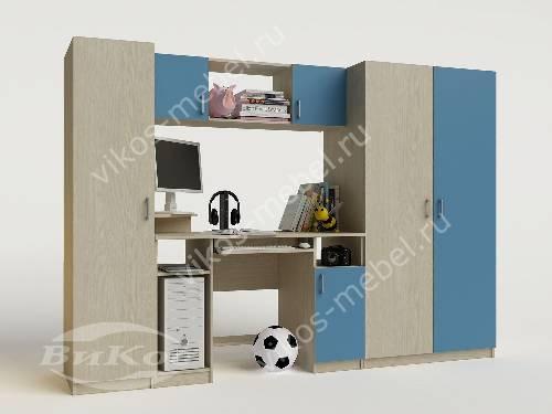Детская стенка со столом для мальчика голубого цвета
