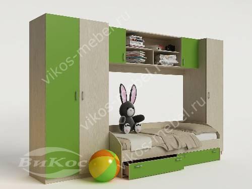 Стенка для ребенка с кроватью зеленого цвета