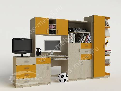 Стенка в детскую со столом желтого цвета