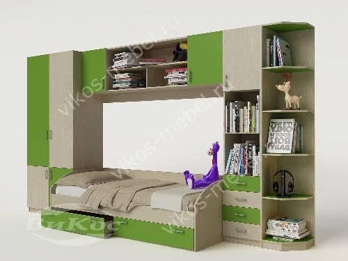 Детская стенка с кроватью зеленого цвета