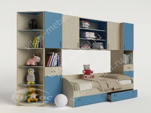 Стенка для ребенка с кроватью для парня голубого цвета