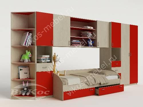 Девчачая детская стенка с кроватью красного цвета