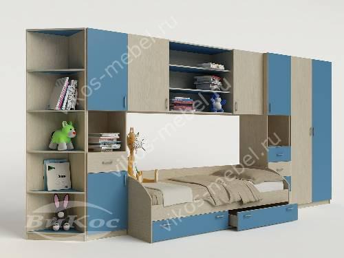 Детская стенка с кроватью для мальчика голубого цвета