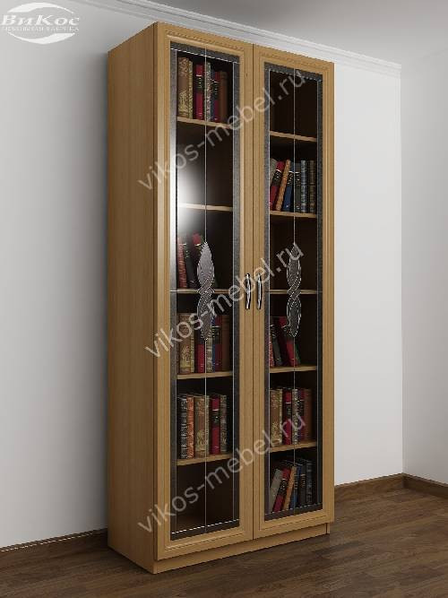 2-створчатый книжный шкаф с витражом цвета бук.