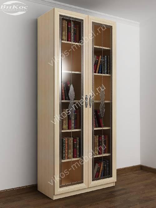 2-створчатый книжный шкаф с витражом цвета молочный беленый дуб
