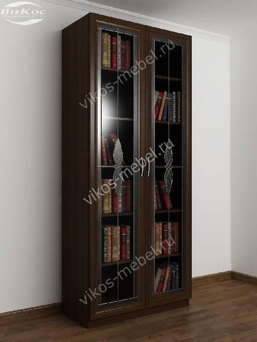 2-створчатый книжный шкаф c витражным стеклом цвета венге
