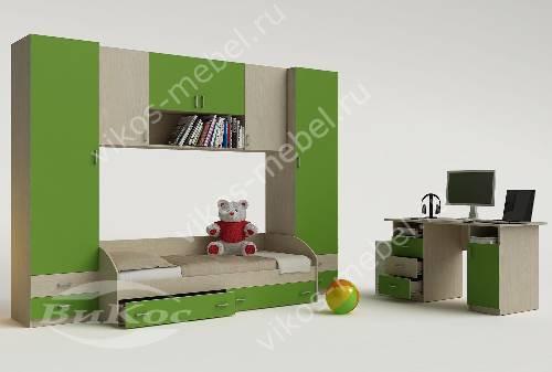 Стенка в детскую с кроватью зеленого цвета