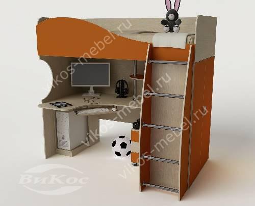 Детская кровать чердак с вместительным шкафом для девочки оранжевого цвета