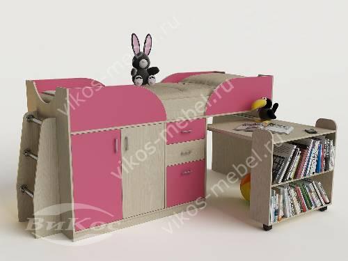 Малогабаритная детская кровать чердак со шкафом для девочки розового цвета