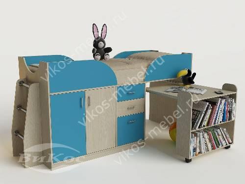 Малогабаритная детская кровать чердак со шкафом цвета мармара голубой