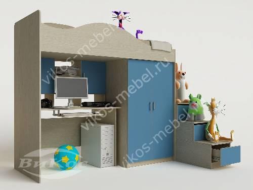 Мальчуковая кровать чердак в детскую с вместительным шкафом голубого цвета