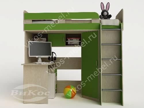 Кровать чердак для ребенка со шкафом зеленого цвета