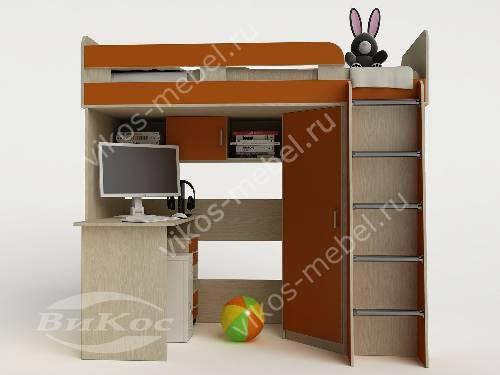 Девчачая кровать чердак для ребенка со шкафом оранжевого цвета