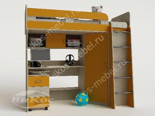 Детская кровать чердак с вместительным шкафом желтого цвета