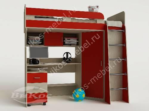 Детская кровать чердак с вместительным шкафом для девочки красного цвета
