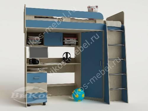 Детская кровать чердак с вместительным шкафом для парня голубого цвета