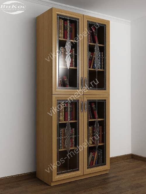 2-дверный витражный шкаф для книг цвета бук