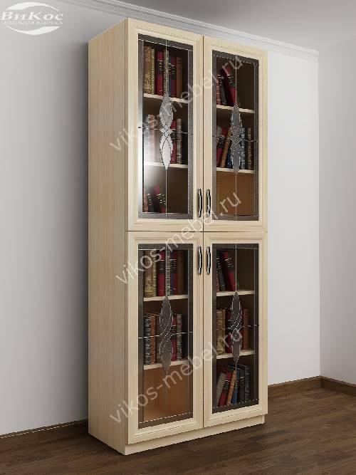 2-дверный витражный шкаф для книг цвета молочный беленый дуб
