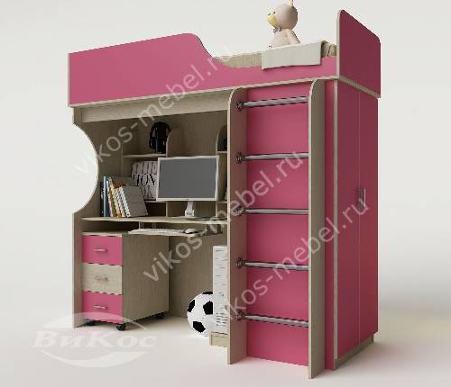 Кровать чердак в детскую со шкафом для девочки розового цвета