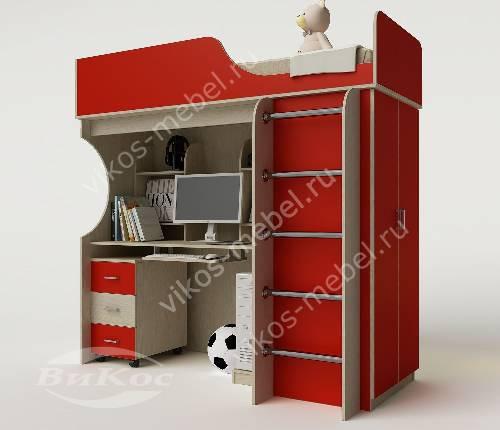 Девчачая кровать чердак в детскую со шкафом красного цвета