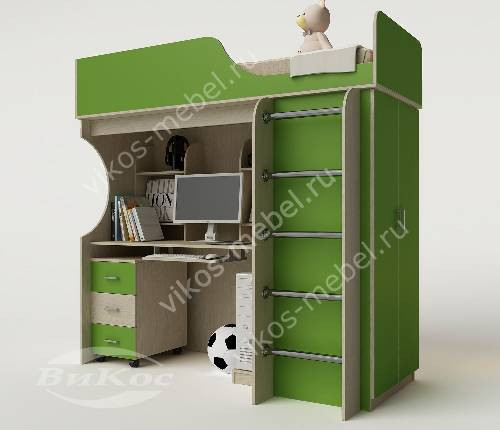 Кровать чердак в детскую со шкафом зеленого цвета