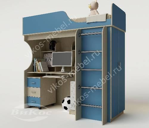 Кровать чердак в детскую со шкафом для парня голубого цвета