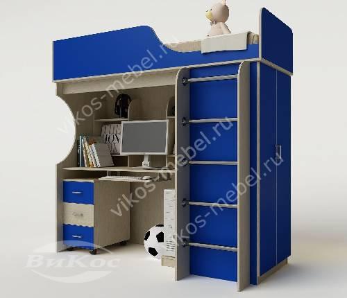 Кровать чердак в детскую со шкафом для мальчика синего цвета