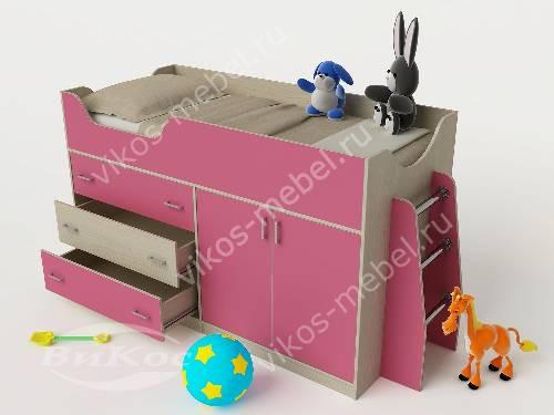 Девчачая мини кровать чердак для ребенка розового цвета
