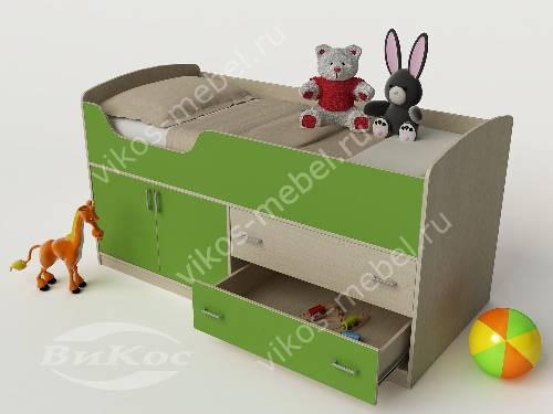 Маленькая детская кровать чердак зеленого цвета