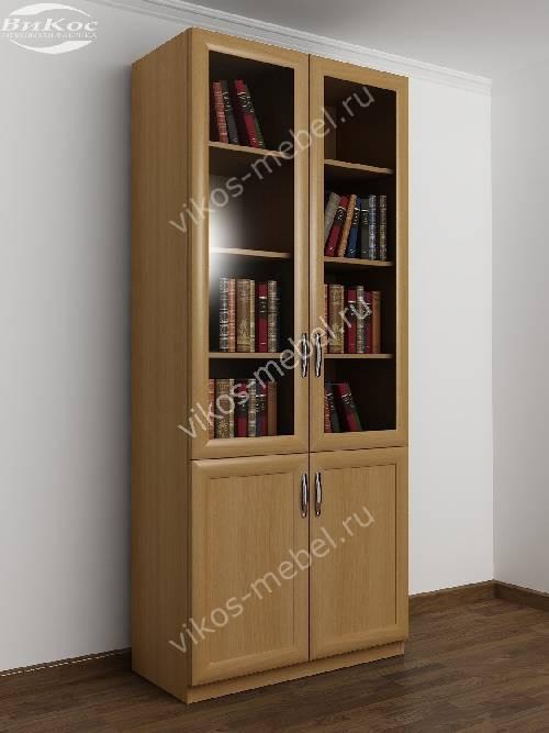 Двухстворчатый книжный шкаф со стеклом цвета бук