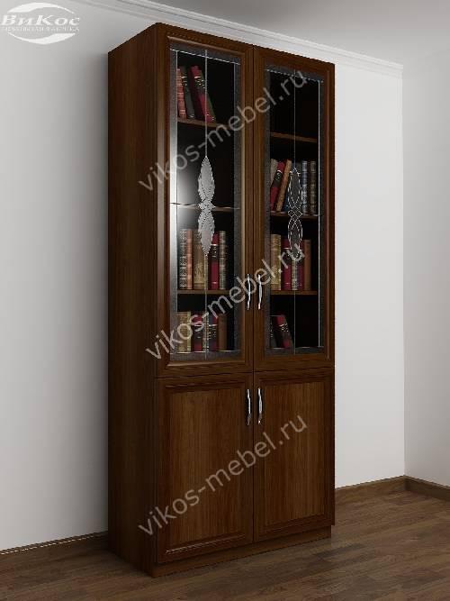 Двухстворчатый книжный шкаф со стеклом с витражом цвета яблоня