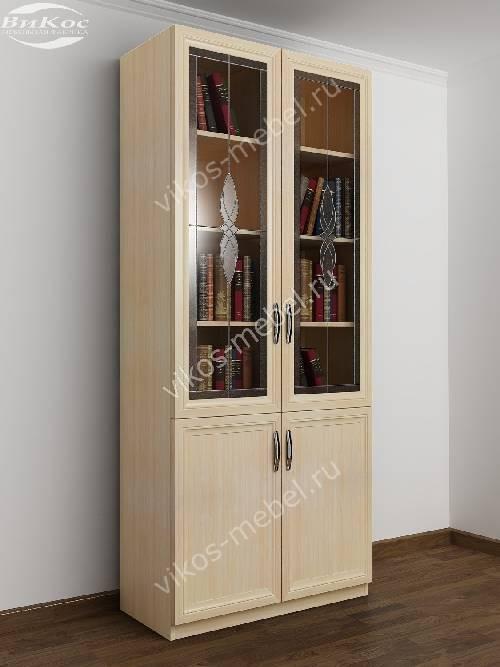 Двухстворчатый книжный шкаф со стеклом c витражным стеклом цвета молочный беленый дуб