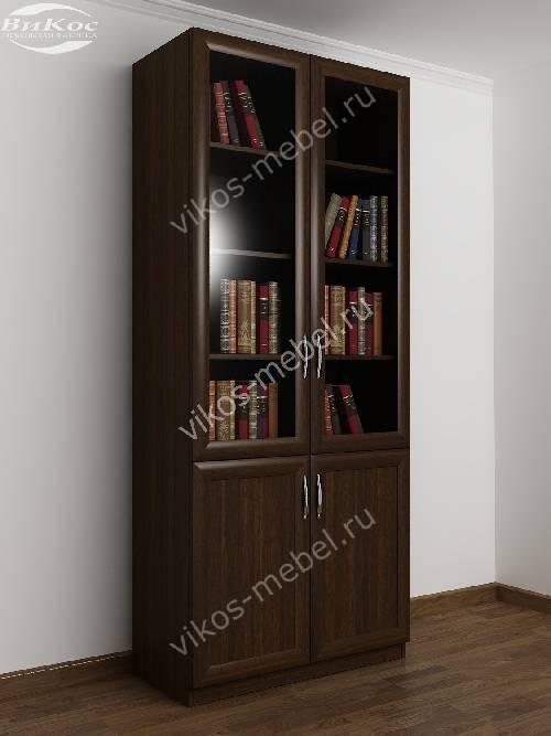 Двухстворчатый книжный шкаф со стеклом цвета венге