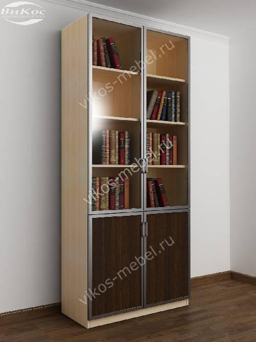 Двухстворчатый книжный шкаф со стеклом цвета беленый дуб - венге