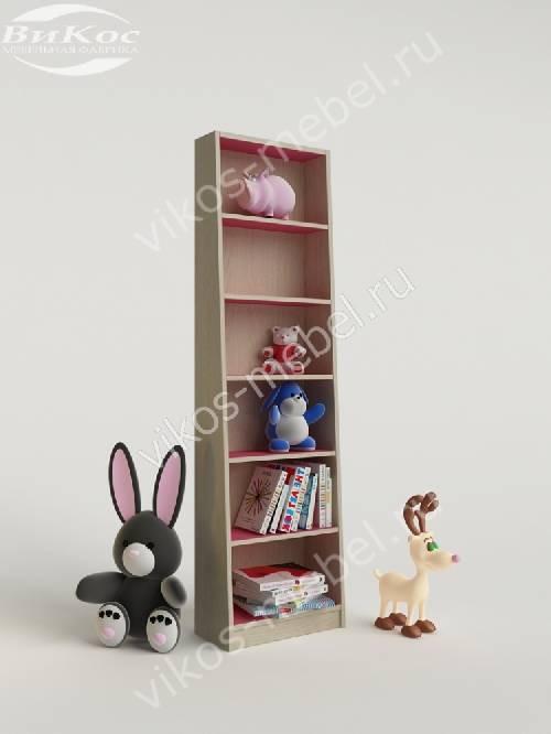 Стеллаж для игрушек и книг для девочки розового цвета