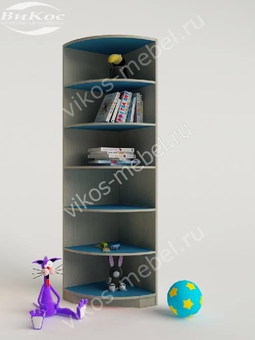 Детский стеллаж для мальчика цвета мармара голубой