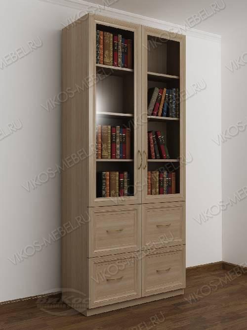 Двухдверный книжный шкаф со стеклянными дверями с ящиками цвета шимо светлый