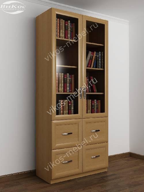Двухдверный книжный шкаф со стеклянными дверями с ящиками цв.