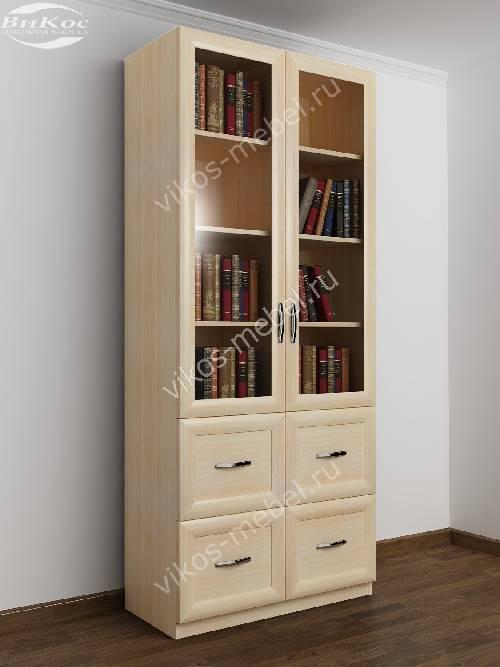 Двухдверный книжный шкаф со стеклянными дверями с ящиками цвета молочный беленый дуб