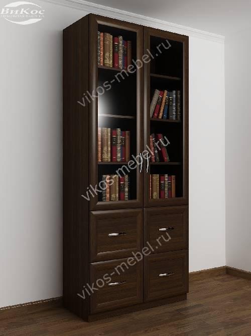 Двухдверный книжный шкаф со стеклянными дверями с ящиками цвета венге