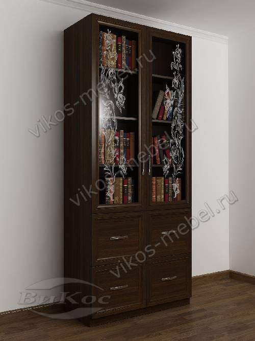 Двухдверный книжный шкаф со стеклянными дверями с пескоструем с ящиками цвета венге