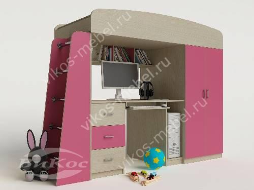 Детская кровать чердак с вместительным шкафом для девочки розового цвета
