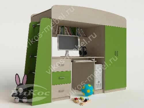 Детская кровать чердак с вместительным шкафом зеленого цвета
