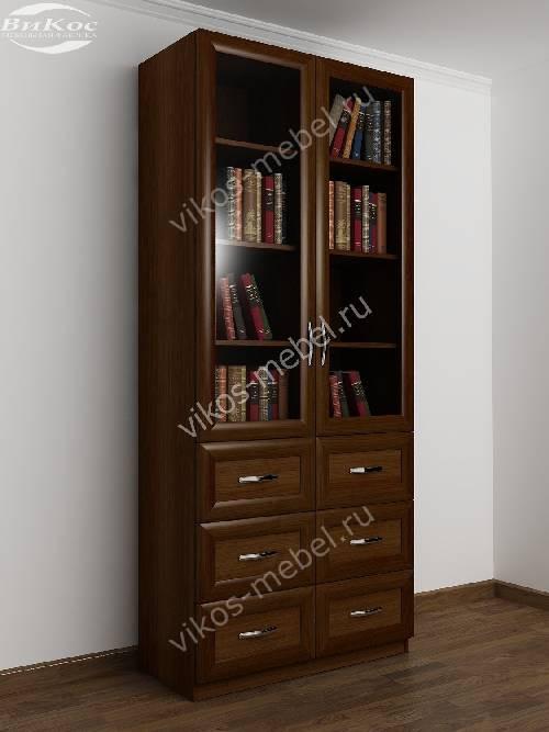 Книжный шкаф со стеклянными дверцами с выдвижными ящиками шириной 80-90 см цвета яблоня